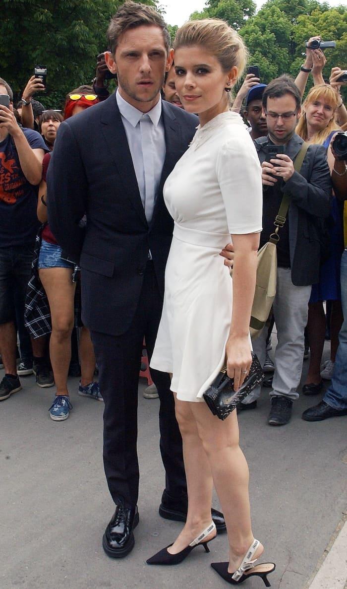 Kate Mara In Black Lambskin Dior Slingbacks With J Adior
