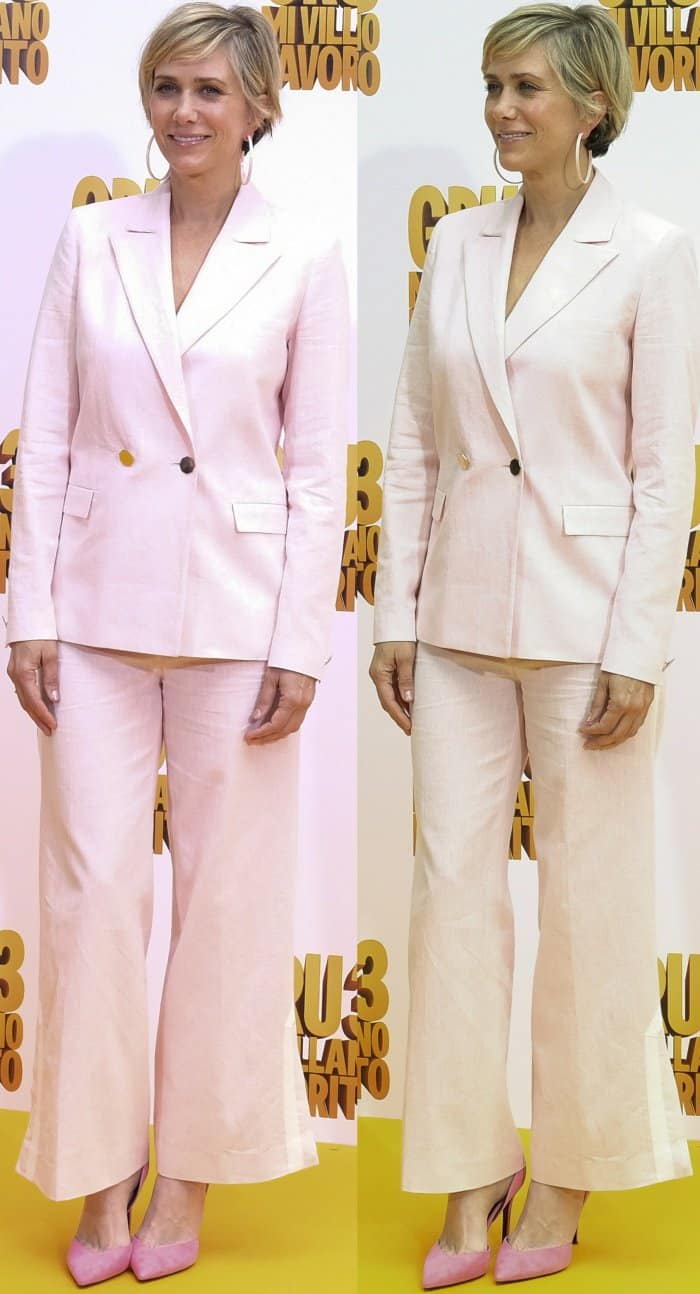"""Kristen Wiig wearing a pink Osman suit and Stella Luna """"Indispensable"""" pumps at the """"Despicable Me 3"""" Madrid photocall"""