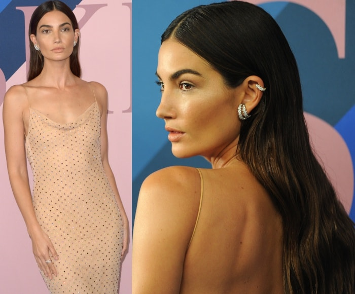 Lily Aldridge's sleek center-parted tresses tucked behind her ears to show off her Ana Khouri jewelry