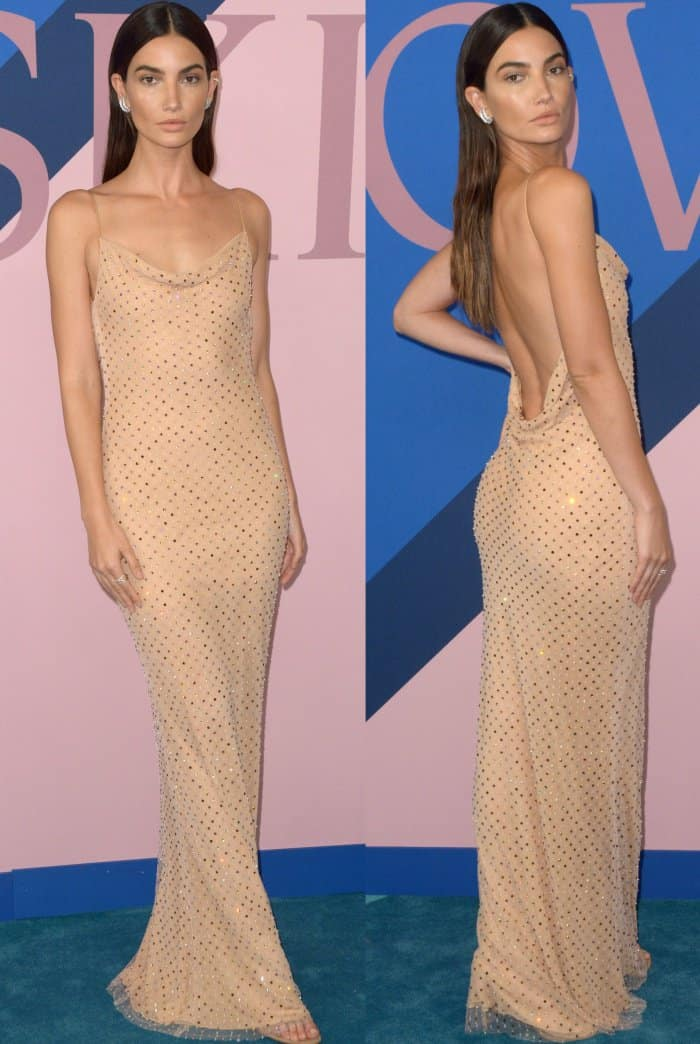 Lily Aldridge oozed sex appeal in a sultry nude dress from Jason Wu