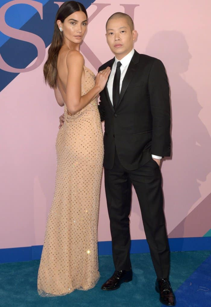 Lily Aldridge with designer Jason Wu at the 2017 CFDA Fashion Awards held at the Hammerstein Ballroom in New York City on June 5, 2017
