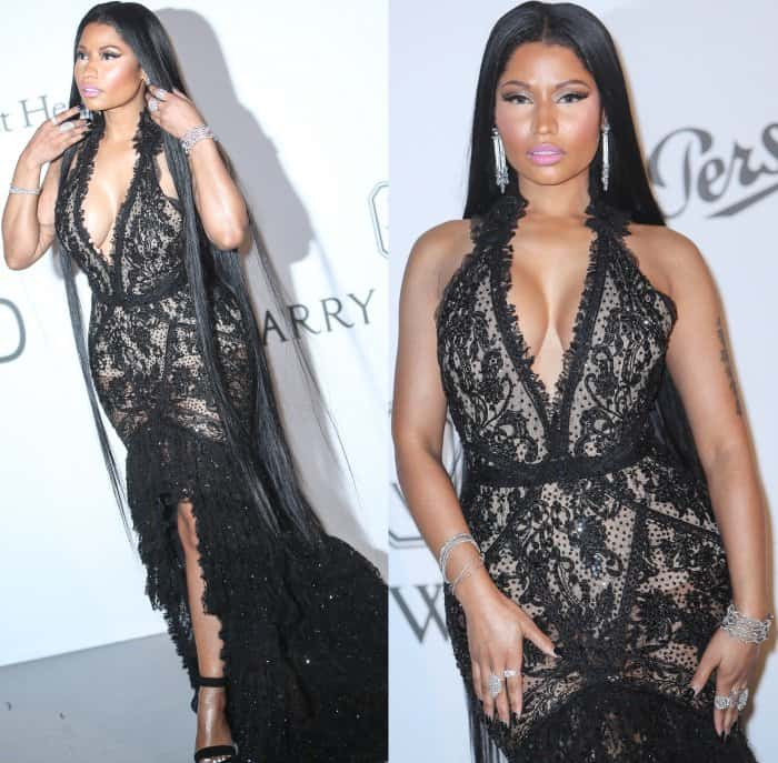 Nicki Minaj wearing a Roberto Cavalli couture gown and Balmain wedge sandals at the 24th amfAR fundraiser during the 70th Cannes Film Festival