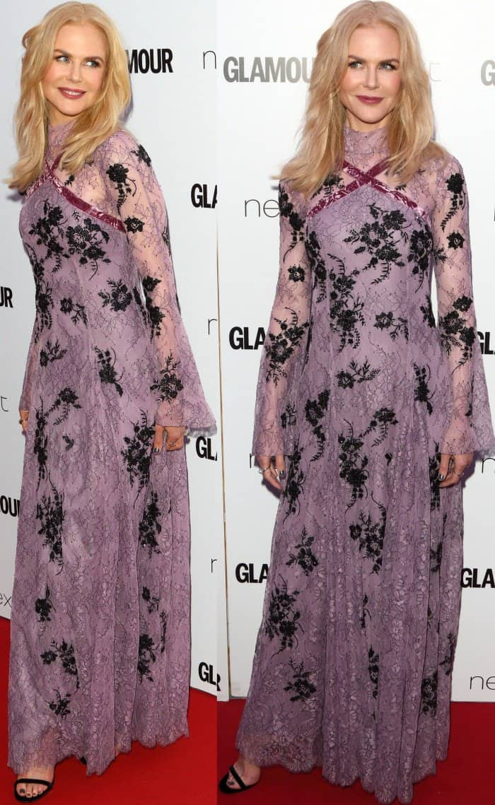 Nicole Kidman wearing an Erdem dress with black ankle-strap heels at the 2017 Glamour Women of the Year Awards