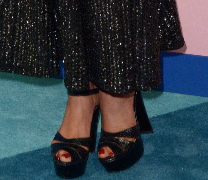 Priyanka Chopra's sexy feet in black Smith python platform heels