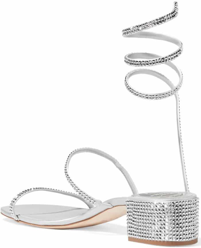 Rene Caovilla crystal-embellished satin and leather sandals