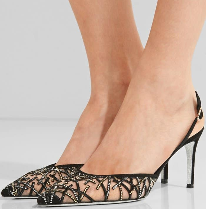 Rene Caovilla crystal-embellished suede and mesh pumps