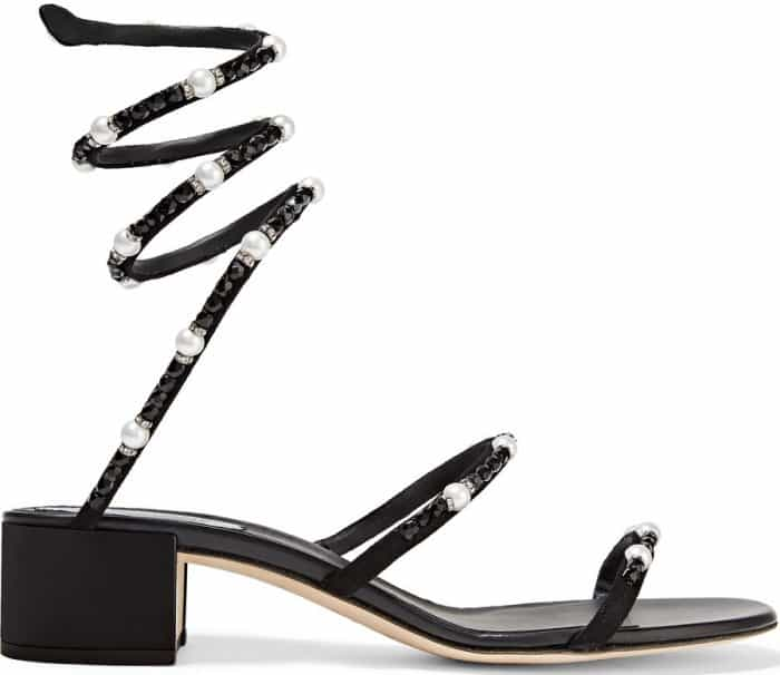 Rene Caovilla crystal and faux pearl-embellished nubuck sandals