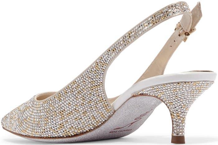 Rene Caovilla Swarovski crystal-embellished satin slingback pumps
