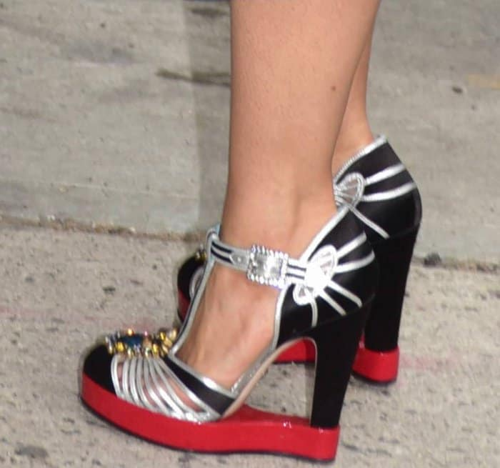 Go Bold And Artistic In Salma Hayek S Gucci T Strap Pumps