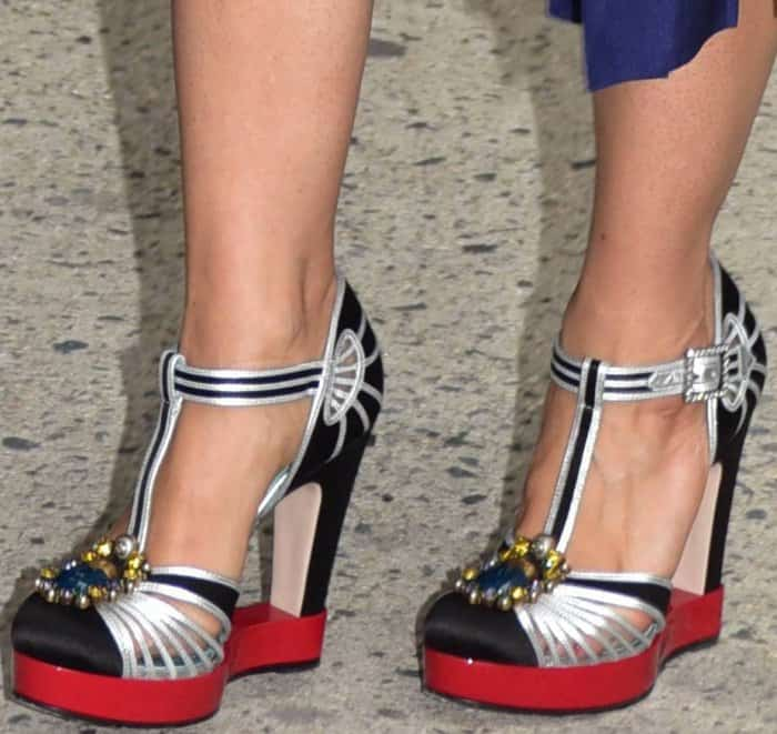 """Salma Hayek wearing Gucci T-strap pumps at NEP Studio 52 for """"The Daily Show with Trevor Noah"""" in New York City"""
