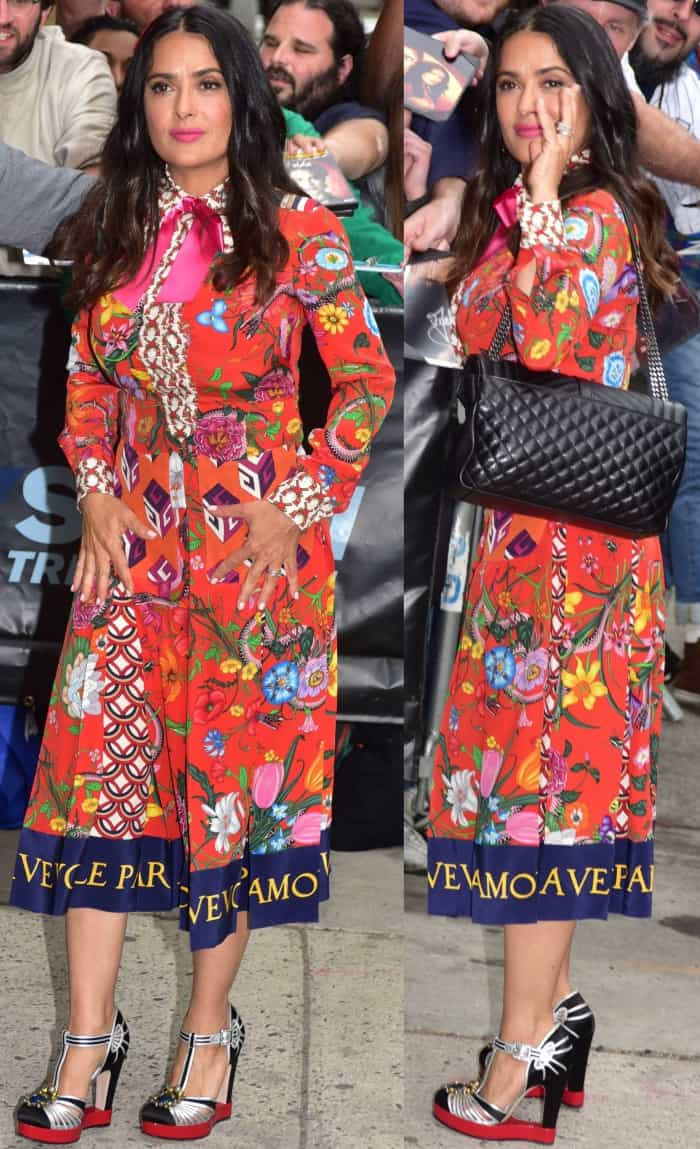 """Salma Hayek wearing head-to-toe Gucci at NEP Studio 52 for """"The Daily Show with Trevor Noah"""" in New York City"""