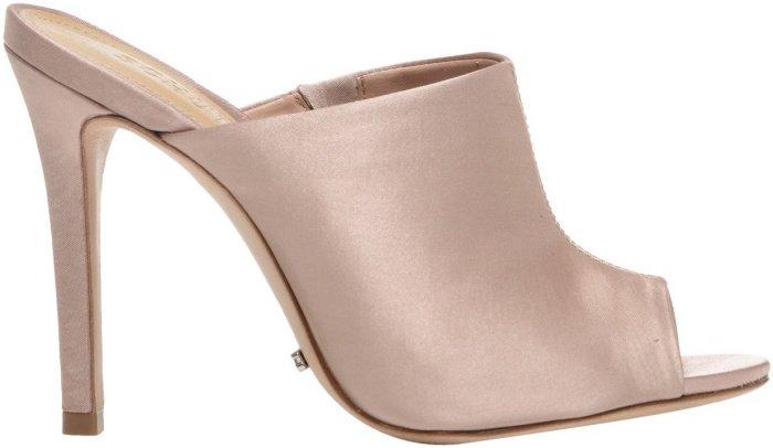 """Schutz """"Desiree"""" high heel satin peep-toe mules in beige"""