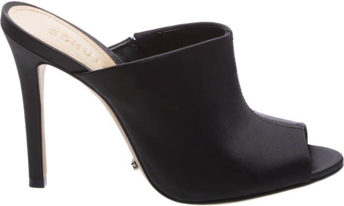 "Schutz ""Desiree"" high heel satin peep-toe mules in black"
