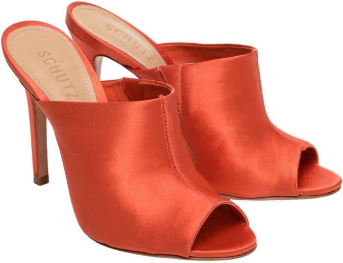 "Schutz ""Desiree"" high heel satin peep-toe mules in orange"