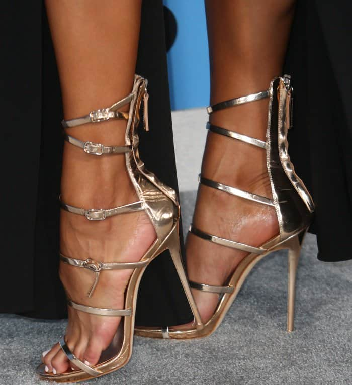 Sibley Scoles showing off her feet in Giuseppe Zanotti sandals