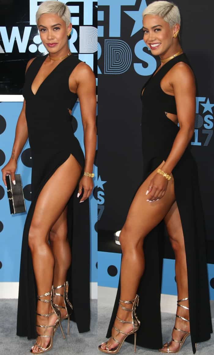 """Sibley Scoles wearing a black Alexander Wang dress and Giuseppe Zanotti """"Margaret"""" sandals at the 2017 BET Awards"""