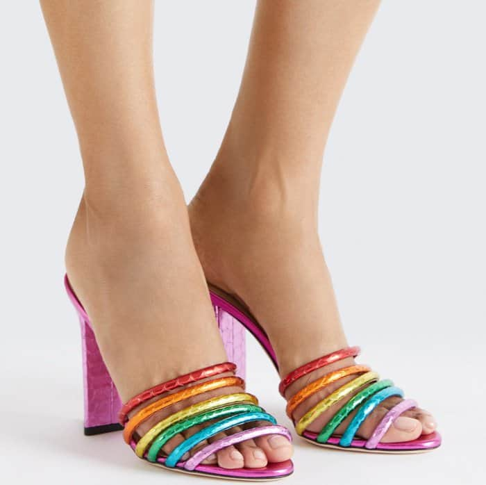 "Tamara Mellon ""Pride"" metallic elaphe sandals"