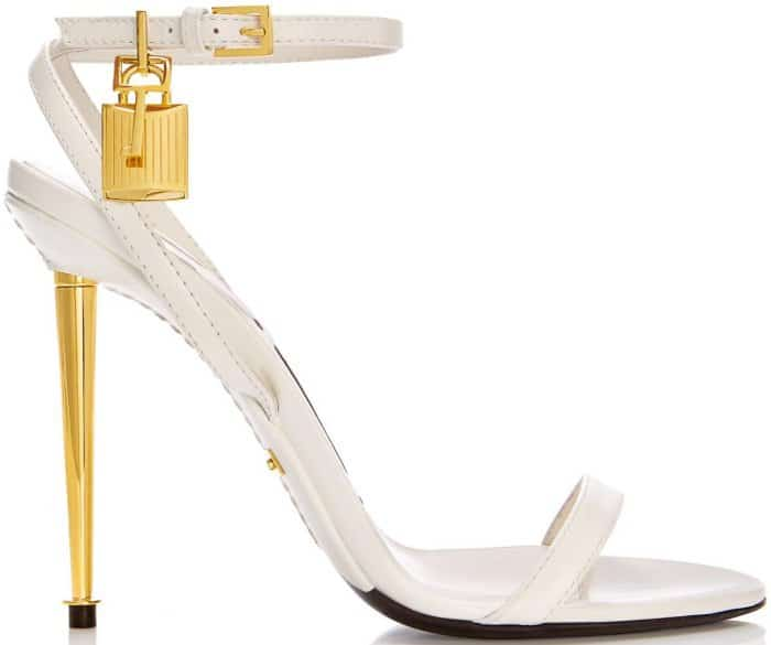 Tom Ford Padlock Naked Strap Sandals in Chalk