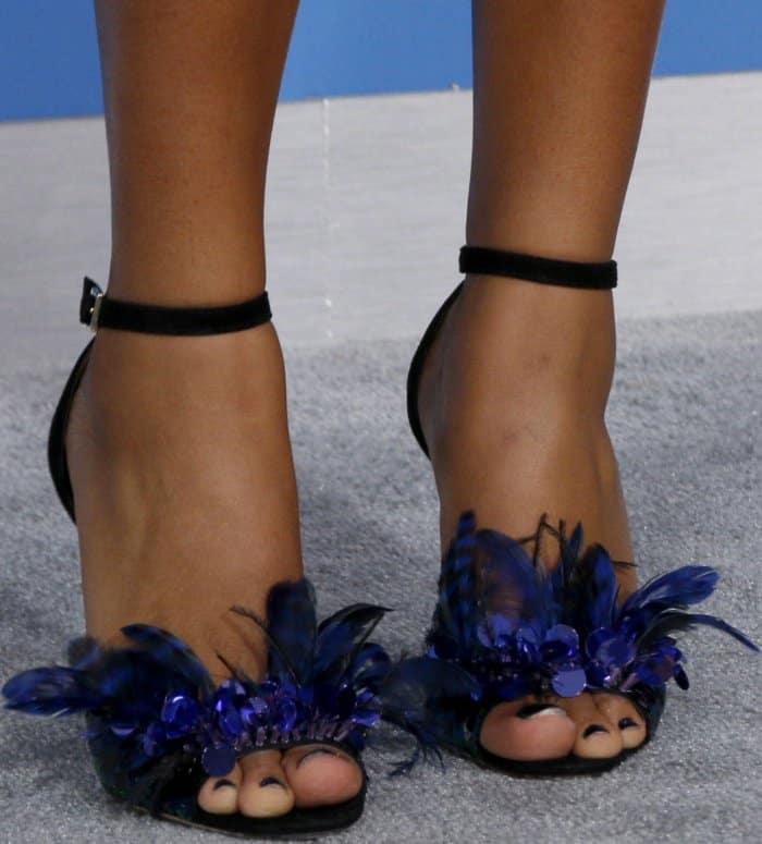 Yara Shahidi showing off her sexy feet in Jimmy Choo sandals