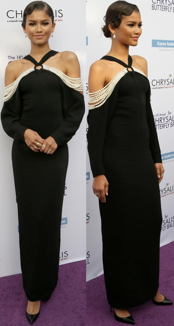 Zendaya wearing a Mario Dice dress and Christian Louboutin pointy-toe pumps at the 16th Annual Chrysalis Butterfly Ball