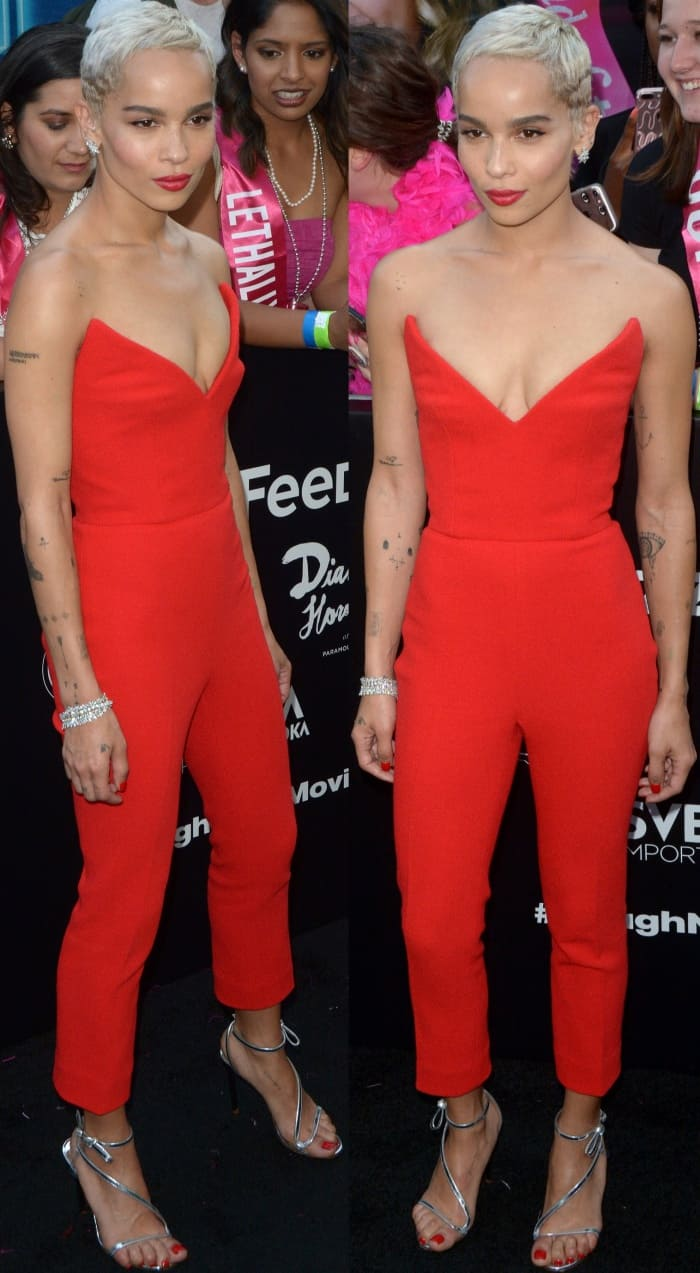 "Zoe Kravitz wearing head-to-toe Oscar de la Renta at the ""Rough Night"" New York premiere"