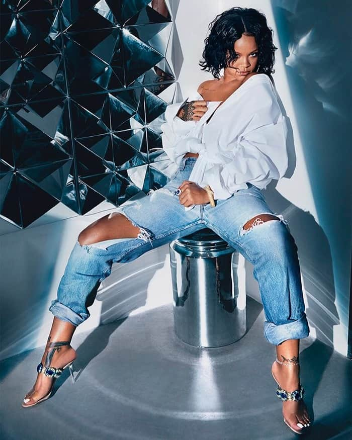 Rihanna wearing Bajan Princess heels