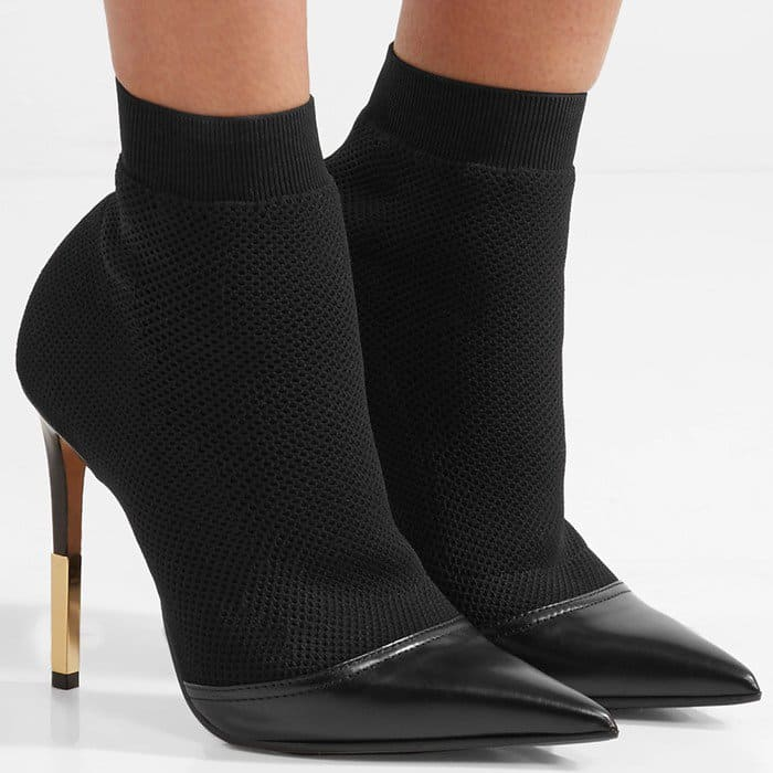 Balmain Aurore leather-trimmed stretch-knit sock boots