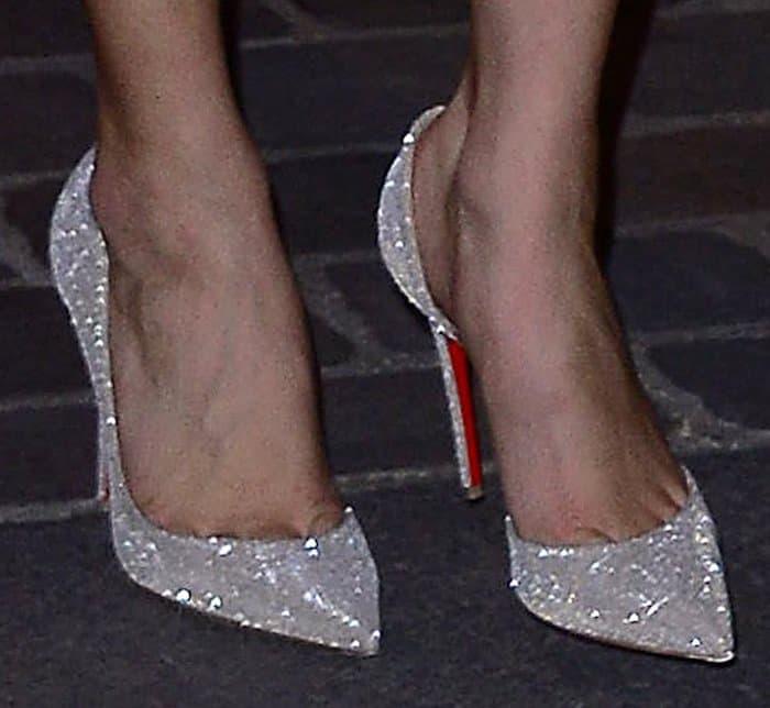 Bella Hadid Flaunts Legs in Christian Louboutin 'Iriza' Pumps