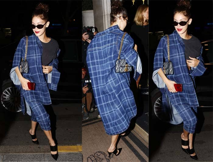 Bella Hadid in a plaid pantsuit and black leather Schutz Quereda mules