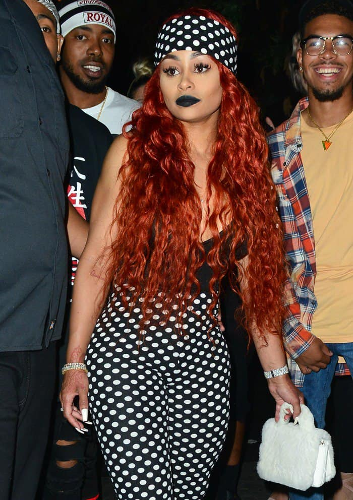 Blac Chyna showed off her fiery tousled locks while leaving Project Club LA in Hollywood on July 29, 2017