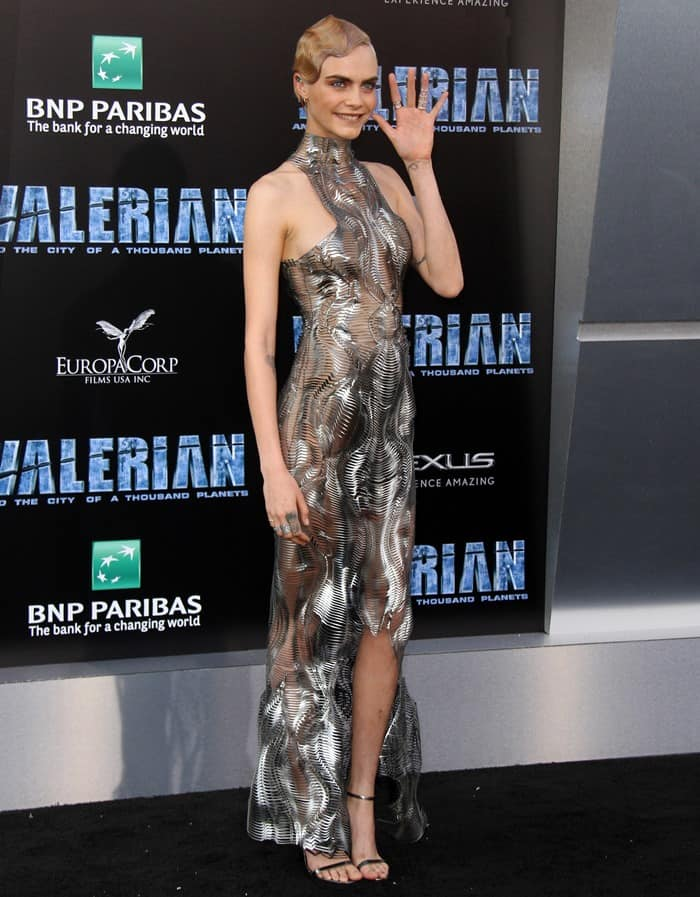 Cara Delevingne wearing an edgy metallic dress at the premiere of 'Valerian and the City of a Thousand Planets' at TCL Chinese Theatre in Hollywood on July 17, 2017