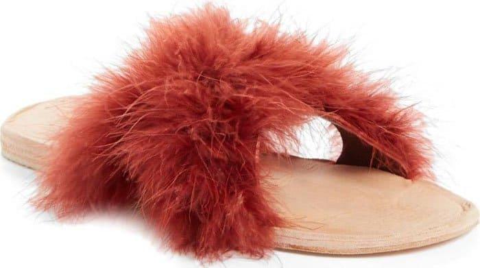 "Brother Vellies ""Marabou Lamu"" Slide Sandals"
