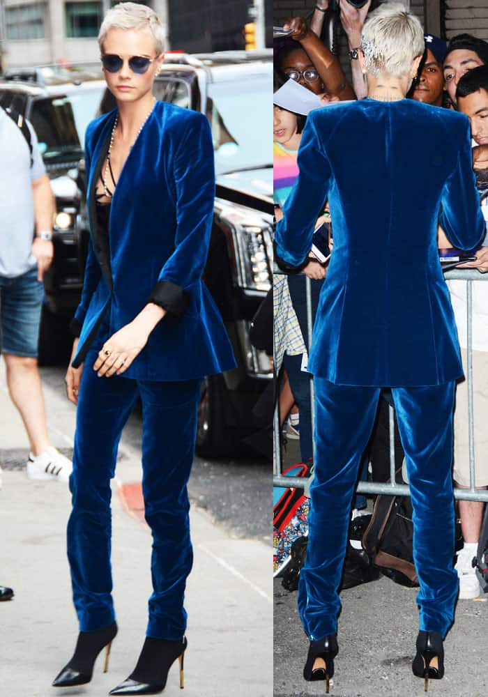 The model stepped out in a gorgeous blue velvet suit from Mugler's Pre-Fall 2017 collection