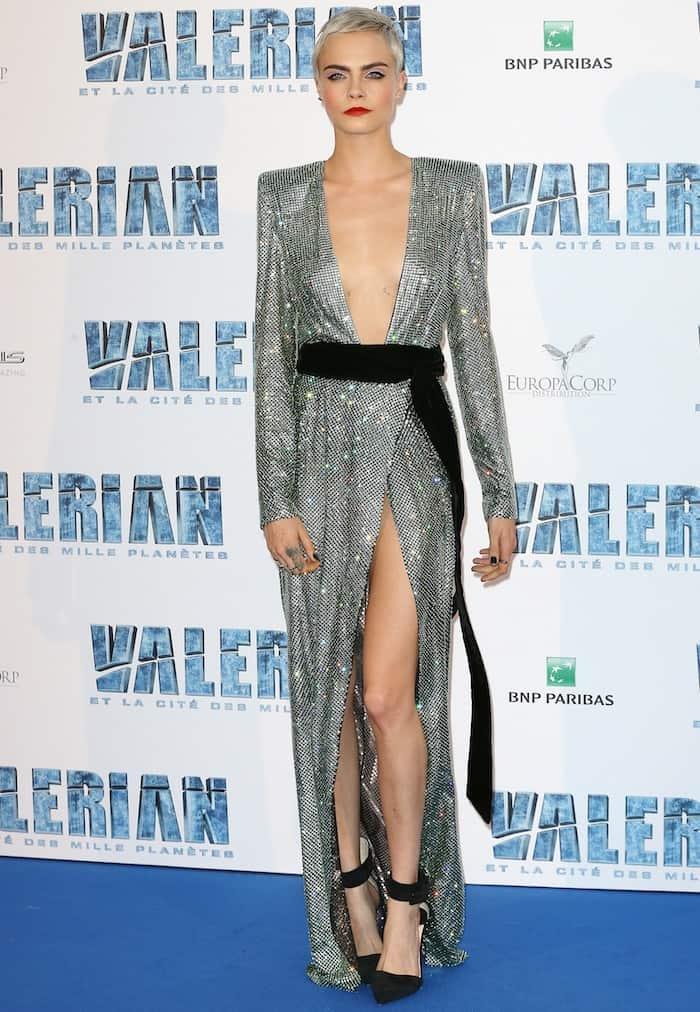 Cara Delevingne in a gorgeous Alexandre Vauthier couture creation from the designer's Fall 2017 line