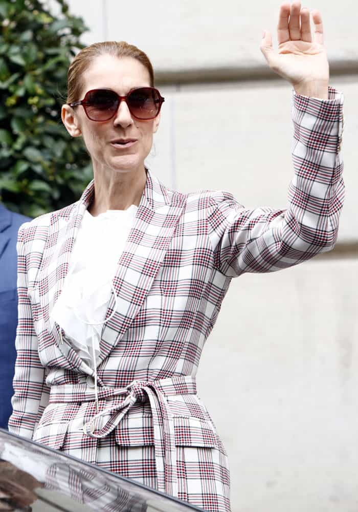 Celine waved to the French fans waiting outside her hotel