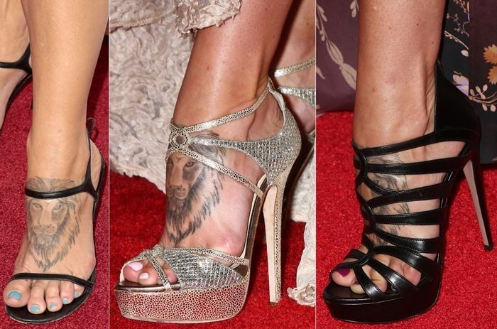 Charisma Carpenter has a lion's head tattooed on the top of her left foot