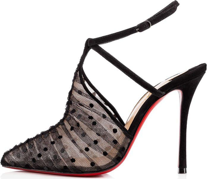 Christian Louboutin dotted tulle pump with suede trim