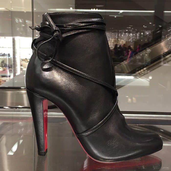 Christian Louboutin 'S.I.T. Rain' 100 Leather Booties in Black Leather