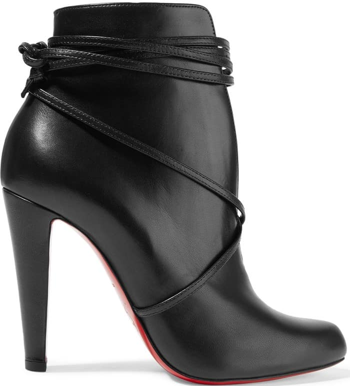 Christian Louboutin S.I.T. Rain 100 Leather Booties in Black Leather