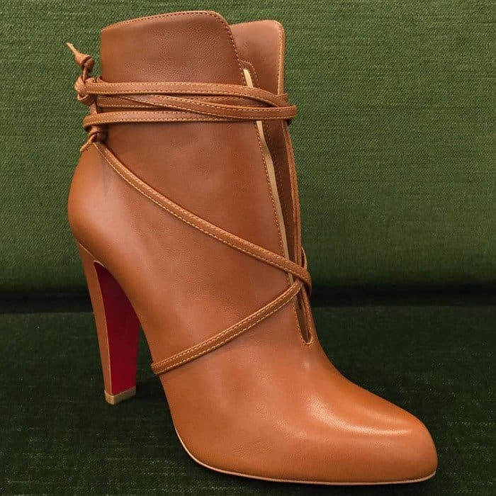 Christian Louboutin 'S.I.T. Rain' 100 Leather Booties in Brown Leather