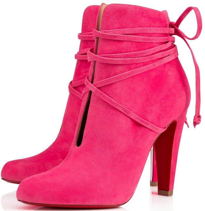 Christian Louboutin 'S.I.T. Rain' 100 Leather Booties in Pink Suede