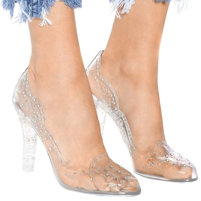 Cinderella embellished transparent pumps,