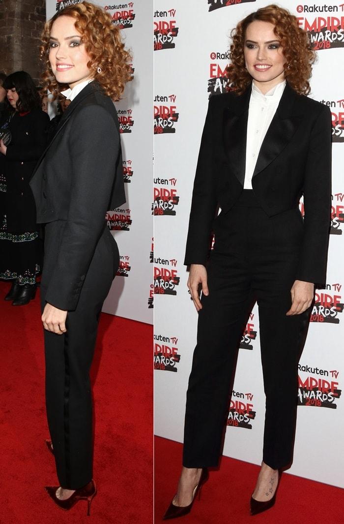 Daisy Ridley inastylish black Sara Battaglia Pre-Fall 2018 two-piece tuxedo