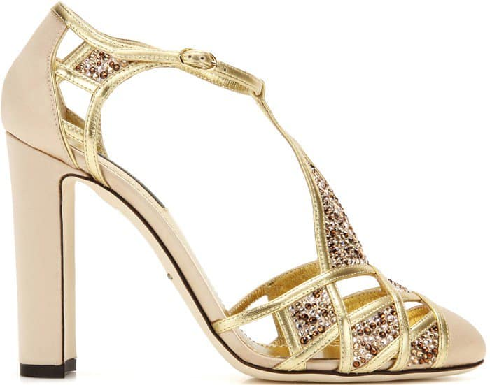 Dolce & Gabbana Crystal-Embellished Satin and Leather Pumps