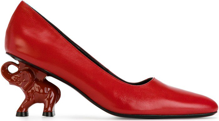 Red Leather Dorateymur Elephant Heel Pumps