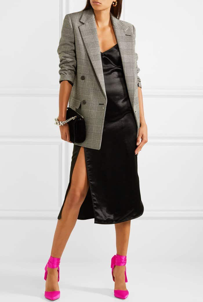 Model wearing Christian Louboutin's satin-crepe pumps with a satin midi dress from Versus Versace and a checked wool-blend blazer from Stella McCartney's Pre-Fall '17 collection