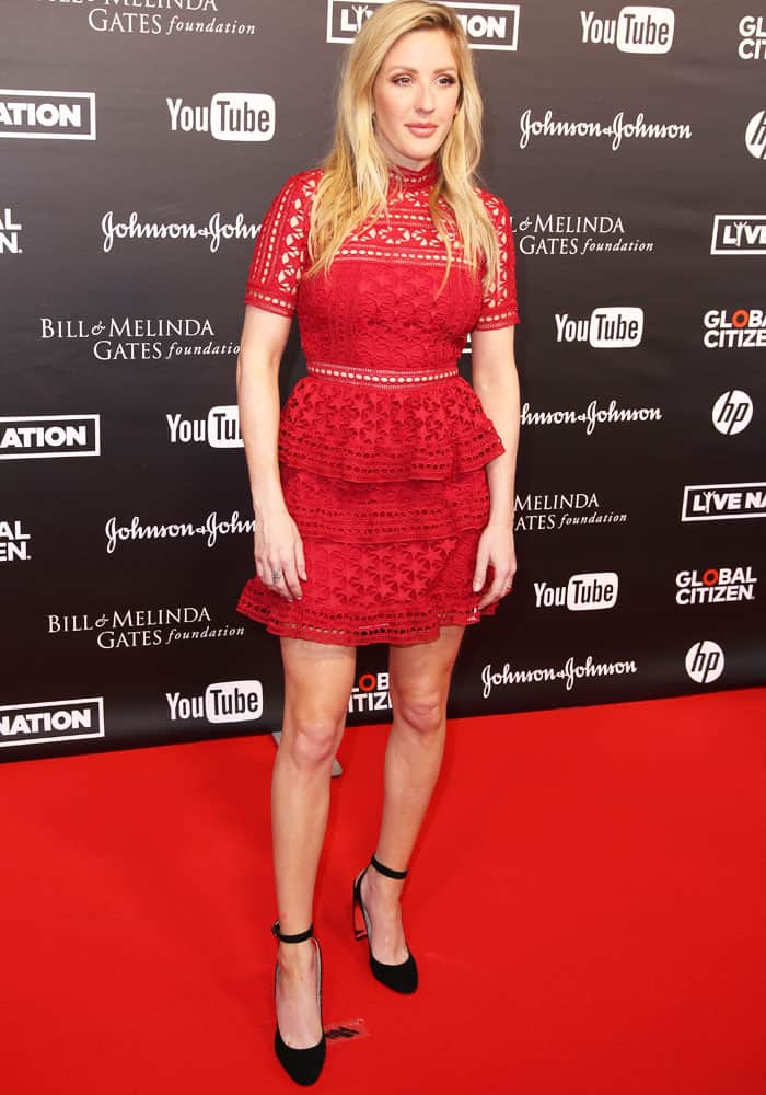 Lady in red: Ellie goes for a sweet look in a Self-Portrait lace dress