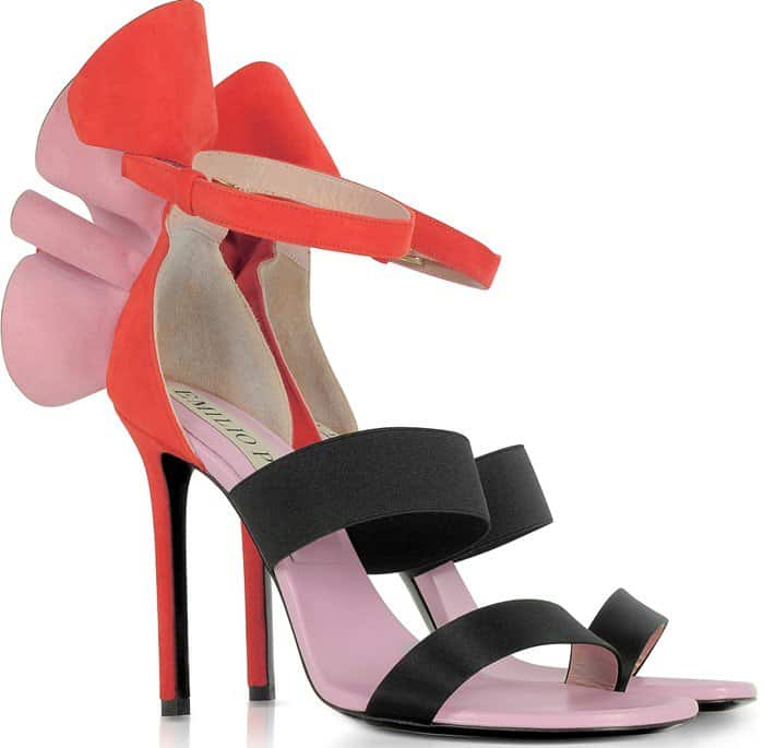 Emilio Pucci Color Block Suede and Silk High Heel Sandals w/Ruffles