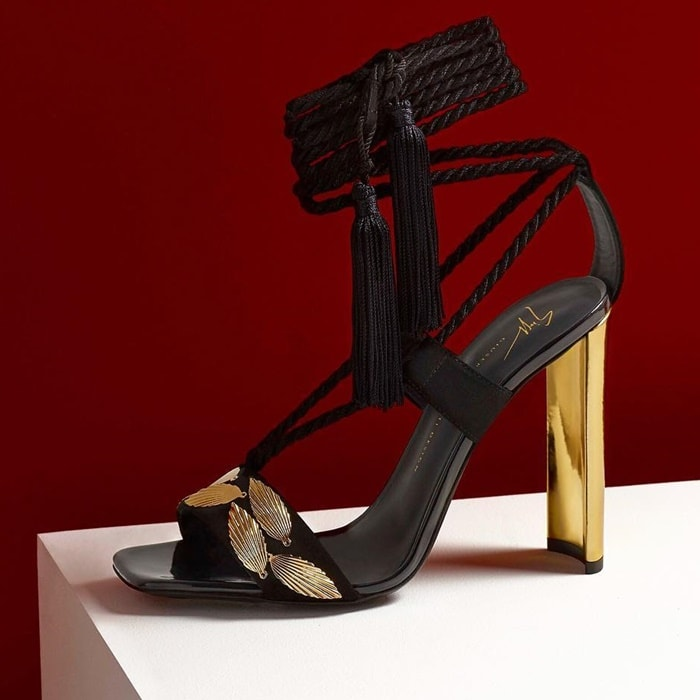 Giuseppe Zanotti 'Danielle' Suede Sandals With Leaf Accessories