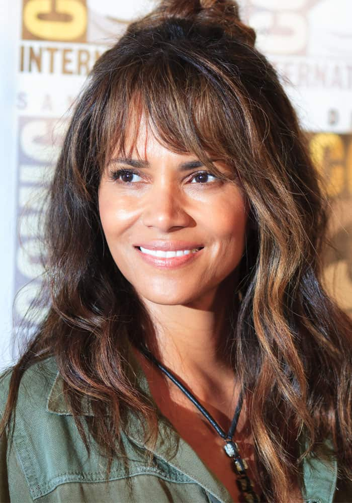 """Halle Berry at theSan Diego Comic Con 2017 for the """"Kingsman 2"""" photocall on July 20, 2017"""
